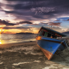 Sunset by BRYON PHILIP - Landscapes Sunsets & Sunrises ( sunset, sea, beach, transportation, boat )