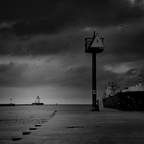 it's getting darker... by Christopher Gray - Black & White Landscapes ( lake, boat )