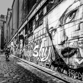 Twice Shy by Gary Beresford - City,  Street & Park  Street Scenes ( hosier lane, melbourne, black and white, graffiti, street art )