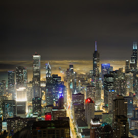 by Michael Buikus - City,  Street & Park  Skylines ( skyline, moods, lighting, fog, night, chicago, mood lighting, city )