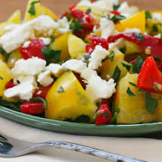 Yellow Tomato Salad Recipe with Roasted Red Pepper, Feta, and Mint