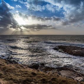 Blue sky by Benny Høynes - Landscapes Waterscapes ( cloudes, waves, sea, sunshine, bluesky, rocks, norway )