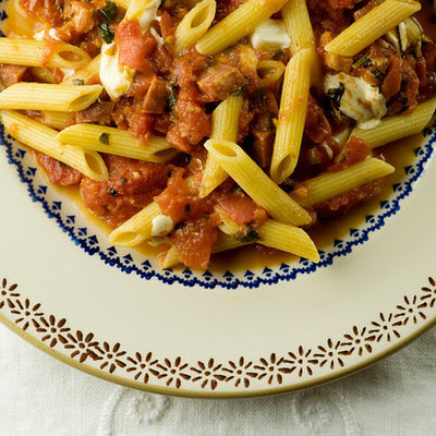 Penne with Tomatoes, Soppressata and Diced Mozzarella