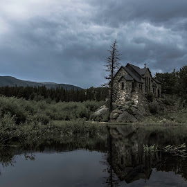 Chapel by Nathan Jesse - Buildings & Architecture Places of Worship ( water, clouds, reflection, colorado, chapel )
