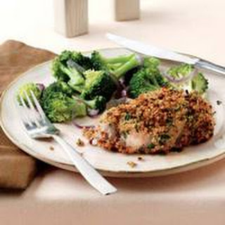Herb-Crusted Pork Chops with Broccoli and Onions