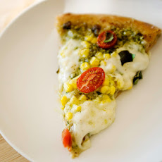 Corn, Pesto, and Tomato Pizza