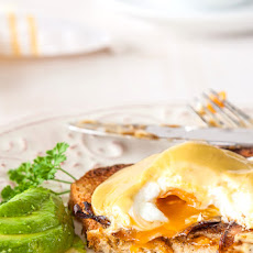 "Vegetarian Eggs Benedict with Avocado Hollandaise & Mushroom ""bacon"""