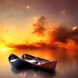 rong kapal by Indra Prihantoro - Digital Art Things ( sunset, boats, sunrise )