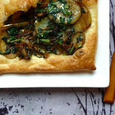 Dandelion, Potato and Onion Tart