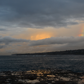 Rainbow And The Ocean by Kamila Romanowska - Landscapes Weather ( australia, ocean, morning, rainbow, sydney )