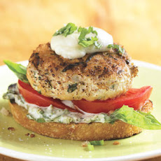 Open-Face Chicken Burgers with Basil Mayonnaise