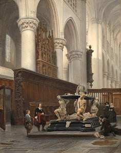RIJKS: Johannes Bosboom: The Choir of the O.L.-Vrouwekerk in Breda with the Tomb of Engelbert II of Nassau 1843