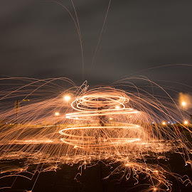 Traffic Jam by Pete Daley - Abstract Light Painting ( light painting, night photography, steelwool, night, self portrait, long exposure, nightscape )