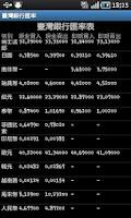 Screenshot of 臺灣銀行匯率