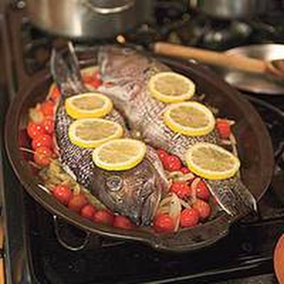 Lemon-Roasted Sea Bass with Clams