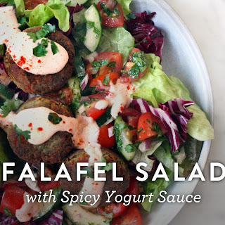 Falafel Salad with Spicy Yogurt Sauce