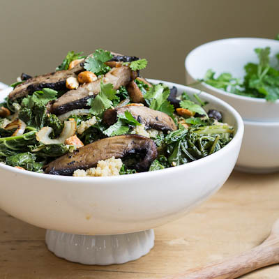 Spicy Peanut Portobello Kale Bowl