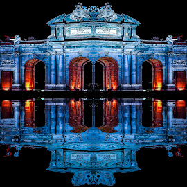 madrid by Christian Heitz - City,  Street & Park  Night ( nuit, lumiere, bleu reflet )