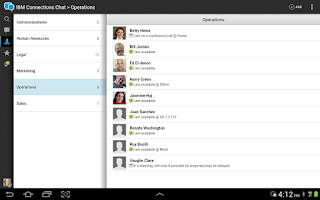 Screenshot of IBM Connections Chat