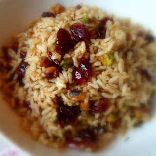 *Curried Cranberry and Pistachio Rice*
