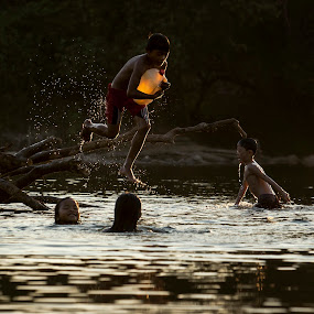 river bath by Kenji Le - Babies & Children Children Candids ( water, sunset, children, vietnam, kids,  )