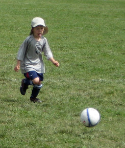 BigE dribbling the ball at soccer