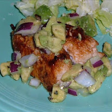 Pan Grilled Chicken with Avocado and Red Onion Salsa