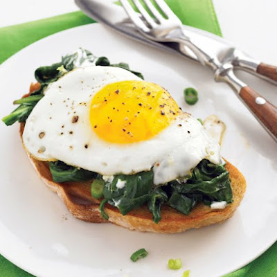 Easy Eggs Florentine with Baby Spinach and Goat Cheese