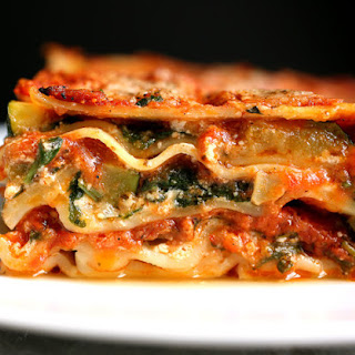 Lasagna With Steamed Spinach and Roasted Zucchini