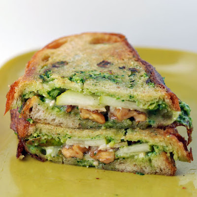 Panini with Anjou Pears, Brie, Caramelized Walnuts and Arugula Pesto Mayo