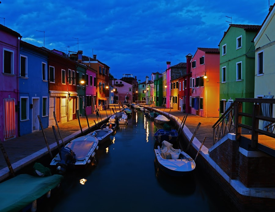 Burano at Night by Marieke Fechner - City,  Street & Park  Night ( houses, coloured, venice, burano, night, canal, colours, , Urban, City, Lifestyle )