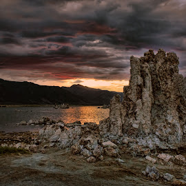 Mono Lake by VJ Thomas - Landscapes Waterscapes ( tuffas, sunset, lake, overcast, drama, vacation 2014 )