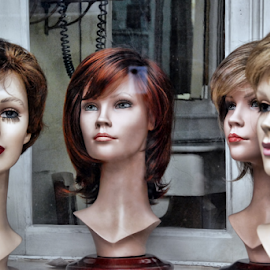 Models with wigs by Antonio Amen - Artistic Objects Other Objects ( models, store, wigs, women )