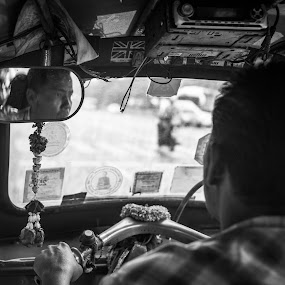 @ Auto Rickshaw by Loke Inkid - Black & White Street & Candid ( tuk, street, rickshaw, white, thailand, bw, auto, transportation, public, black,  )
