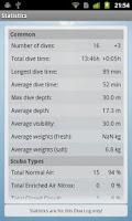 Screenshot of Dive Log