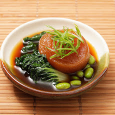 Vegan: Japanese Simmered Daikon with Bok Choy and Edamame