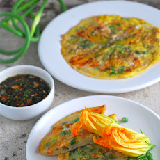 Korean Pancakes with Squash Blossoms and Garlic Scapes