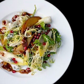 Roasted Pear Salad with Endive, Pomegranate, Blue Cheese, and Hazelnut Vinaigrette