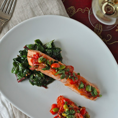 Broiled Salmon with Warm Tomato and Edamame Salad