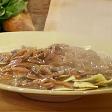 Porcini Ravioli with Wild Mushroom Demi-glace Cream Sauce