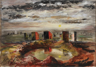 This piece of  art made by an English artist in the early 1940's shows a ruined down landscape, developed with beautiful colours, making it look surreal/
