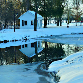 Little White House by Amy Clark - Buildings & Architecture Other Exteriors ( reflection, stream, winter, white, house )
