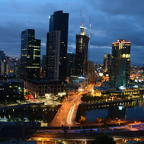 Melbourne City Scape by Diane Flynn - Novices Only Street & Candid ( melbourne, australia, buildings, night, river, city )