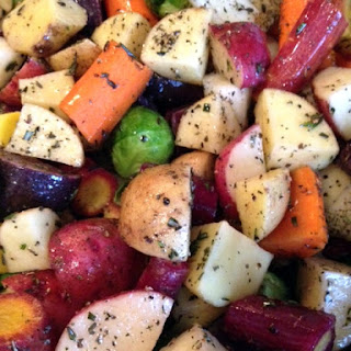 Roasted Potatoes, Brussels Sprouts, and Carrots