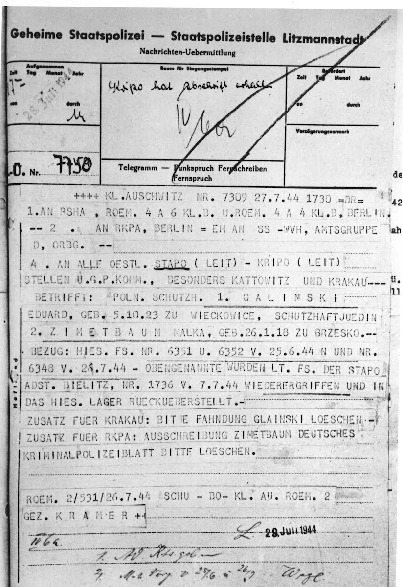 Telegram announcing the recapture of Edek and Mala