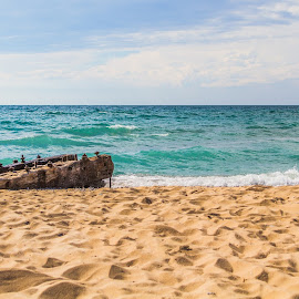 Sandy Beaches and Shipwreck Pieces.  by Chip Ormsby - Landscapes Beaches ( water, michigan, sand, lake michigan, wood, blue, ship wreck, landscape, artifacts, coast )