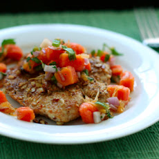 Almond-Crusted Turkey Cutlets with Papaya-Orange Salsa