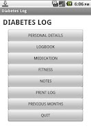 Screenshot of Diabetes Log