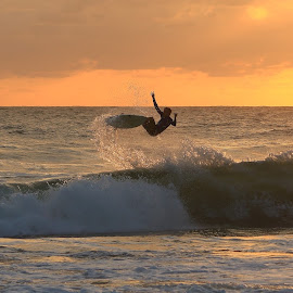 Morning Energy Boost by Greg Labuscagne - Sports & Fitness Surfing ( water, dawn, surfing, waves, sea, boost, aerial, sunrise, beach, surf )