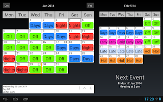 Screenshot of Shift Work Calendar